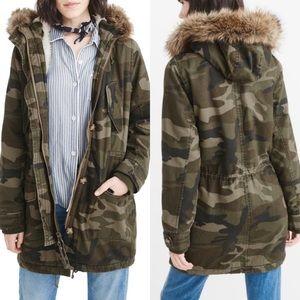 •ABERCROMBIE• Green Camouflage Sherpa Jacket Coat